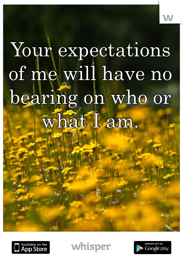 Your expectations of me will have no bearing on who or what I am.