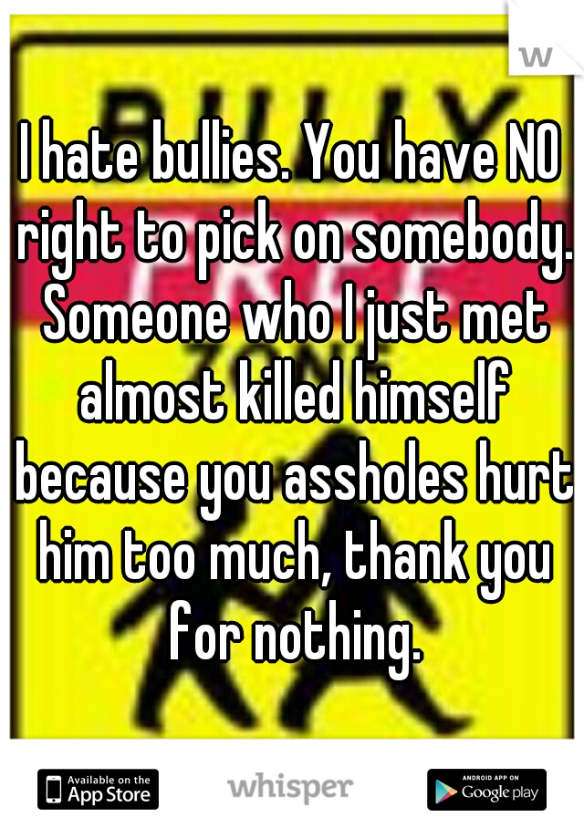 I hate bullies. You have NO right to pick on somebody. Someone who I just met almost killed himself because you assholes hurt him too much, thank you for nothing.