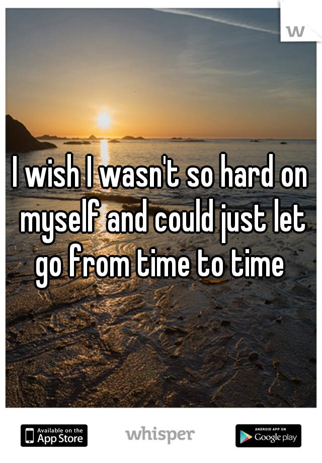 I wish I wasn't so hard on myself and could just let go from time to time