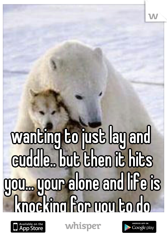 wanting to just lay and cuddle.. but then it hits you... your alone and life is knocking for you to do things...