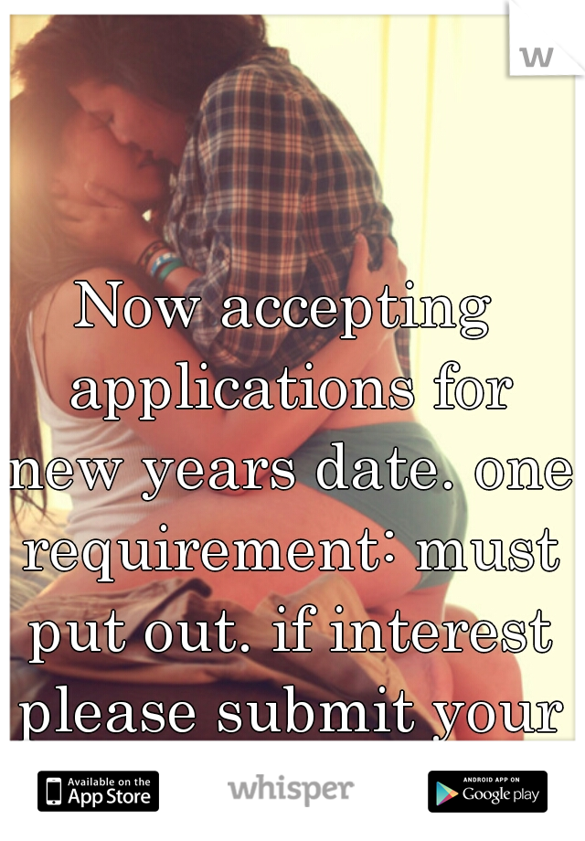 Now accepting applications for new years date. one requirement: must put out. if interest please submit your resume.