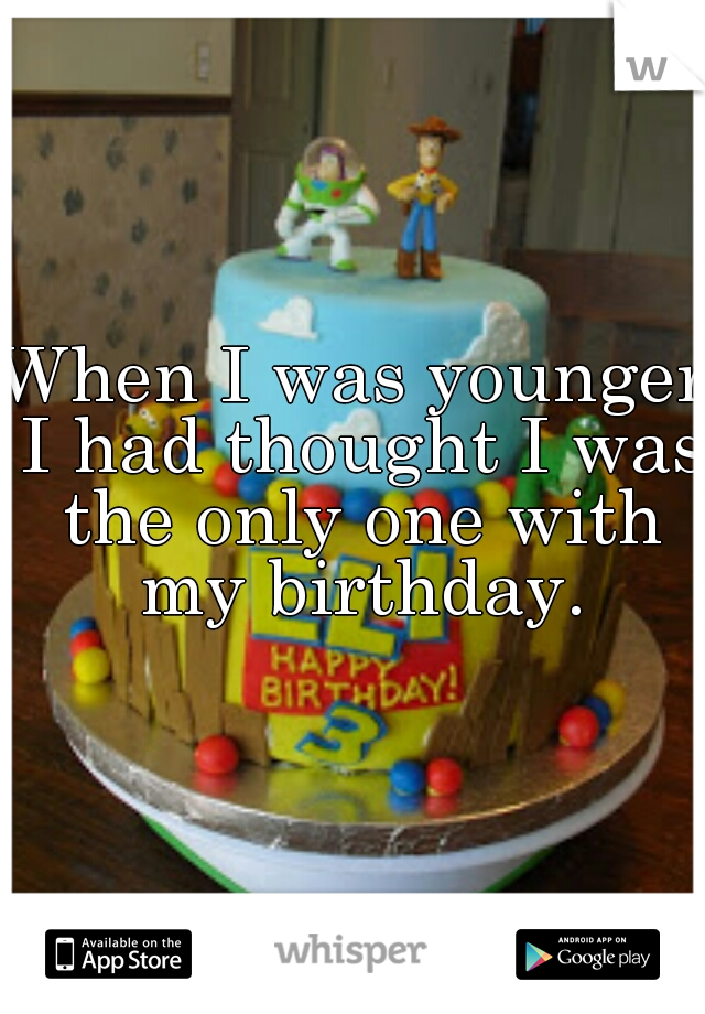 When I was younger I had thought I was the only one with my birthday.