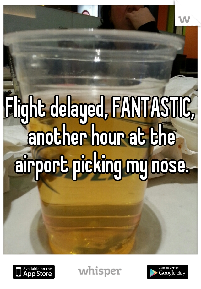 Flight delayed, FANTASTIC, another hour at the airport picking my nose.