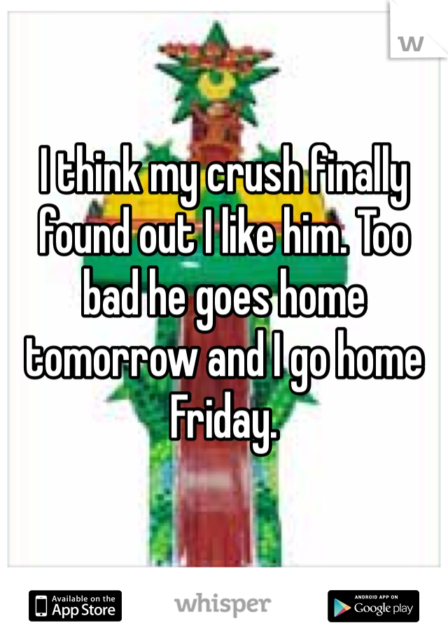 I think my crush finally found out I like him. Too bad he goes home tomorrow and I go home Friday.