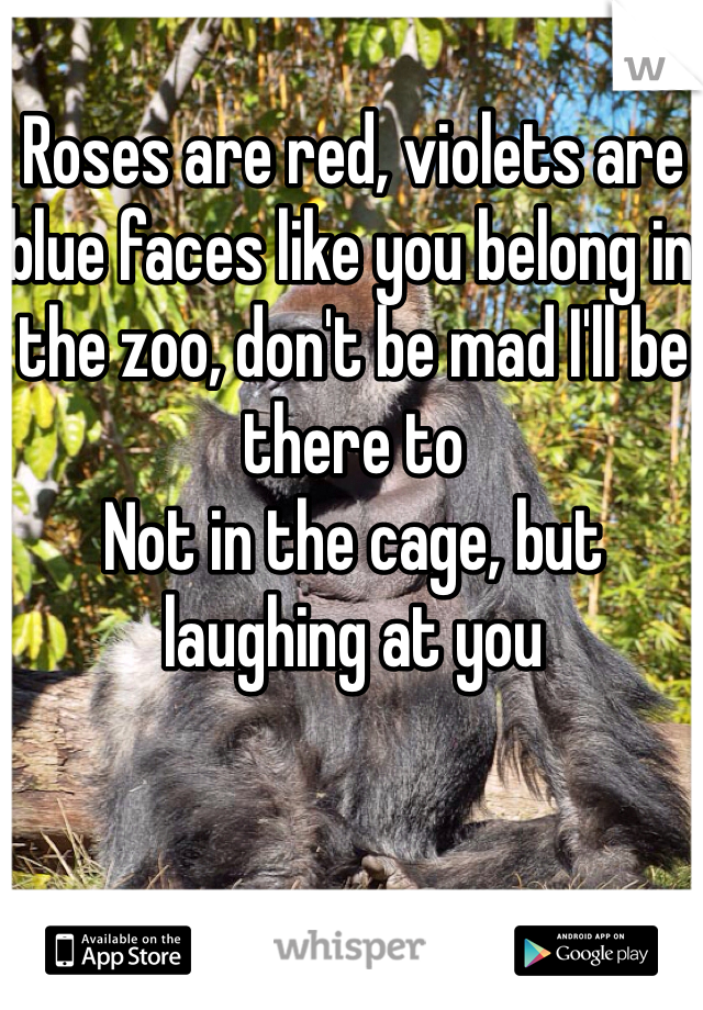 Roses are red, violets are blue faces like you belong in the zoo, don't be mad I'll be there to  Not in the cage, but laughing at you