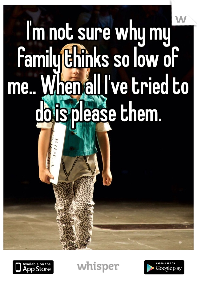 I'm not sure why my family thinks so low of me.. When all I've tried to do is please them.
