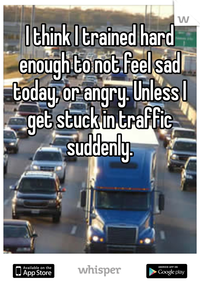 I think I trained hard enough to not feel sad today, or angry. Unless I get stuck in traffic suddenly.