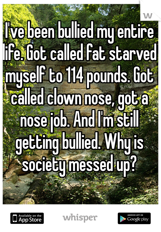 I've been bullied my entire life. Got called fat starved myself to 114 pounds. Got called clown nose, got a nose job. And I'm still getting bullied. Why is society messed up?