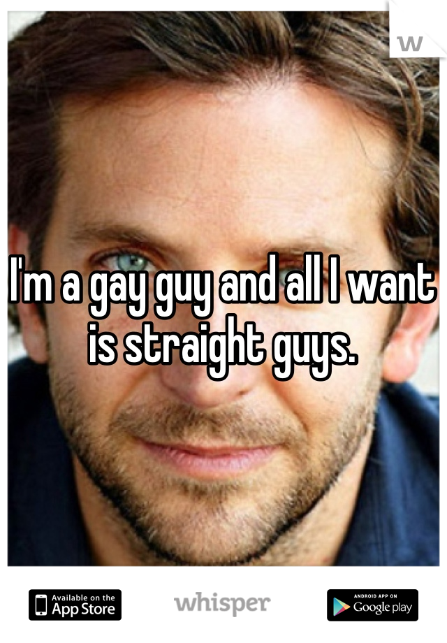 I'm a gay guy and all I want is straight guys.