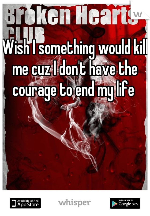 Wish I something would kill me cuz I don't have the courage to end my life