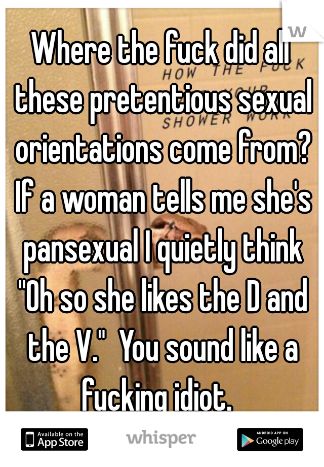 """Where the fuck did all these pretentious sexual orientations come from? If a woman tells me she's pansexual I quietly think """"Oh so she likes the D and the V.""""  You sound like a fucking idiot."""