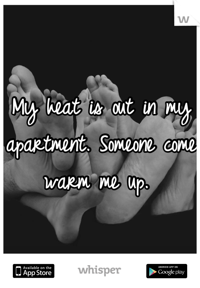 My heat is out in my apartment. Someone come warm me up.
