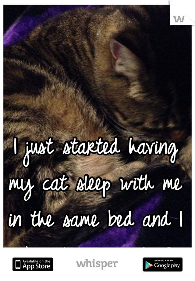 I just started having my cat sleep with me in the same bed and I absolutely love it <3
