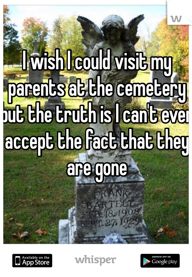 I wish I could visit my parents at the cemetery but the truth is I can't even accept the fact that they are gone
