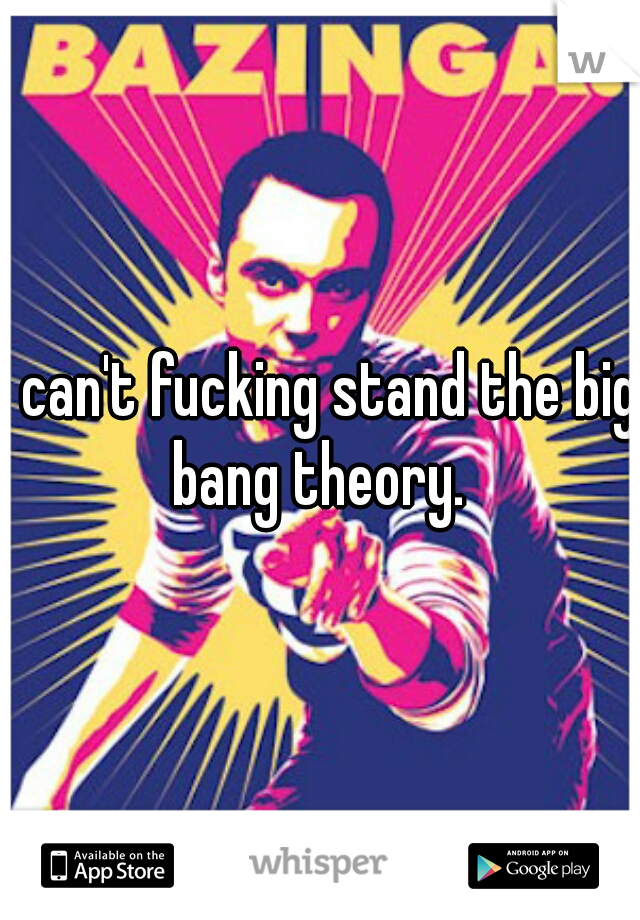 I can't fucking stand the big bang theory.