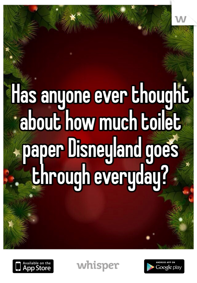 Has anyone ever thought about how much toilet paper Disneyland goes through everyday?