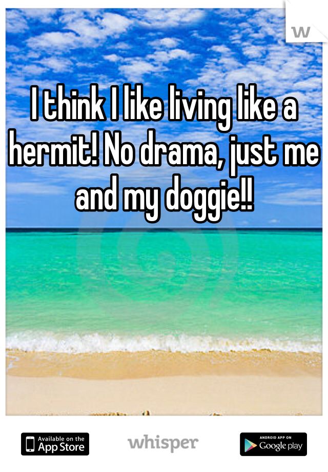 I think I like living like a hermit! No drama, just me and my doggie!!