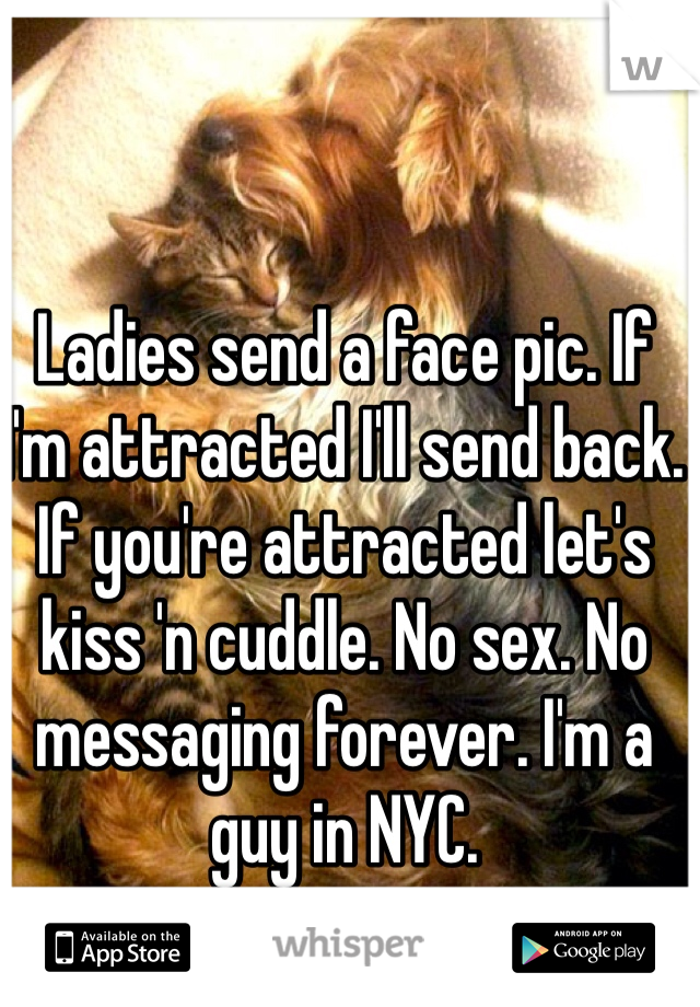Ladies send a face pic. If I'm attracted I'll send back. If you're attracted let's kiss 'n cuddle. No sex. No messaging forever. I'm a guy in NYC.
