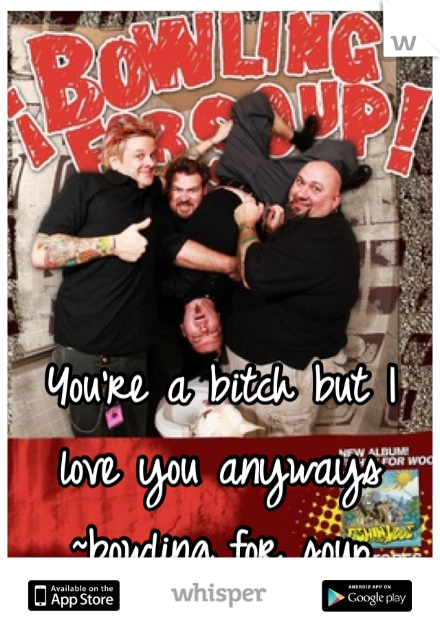 You're a bitch but I love you anyways ~bowling for soup