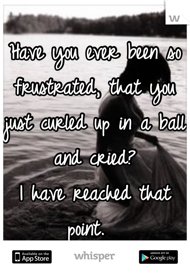 Have you ever been so frustrated, that you just curled up in a ball and cried? I have reached that point.