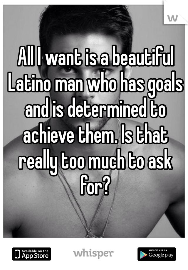 All I want is a beautiful Latino man who has goals and is determined to achieve them. Is that really too much to ask for?