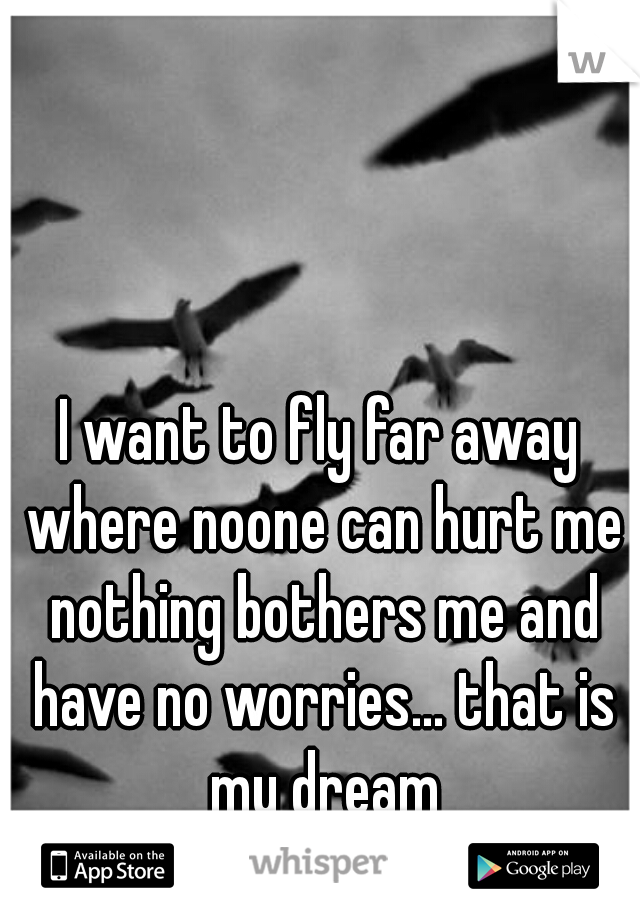 I want to fly far away where noone can hurt me nothing bothers me and have no worries... that is my dream