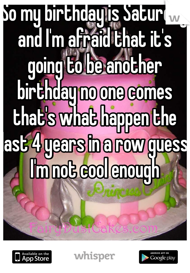 So my birthday is Saturday and I'm afraid that it's going to be another birthday no one comes that's what happen the last 4 years in a row guess I'm not cool enough