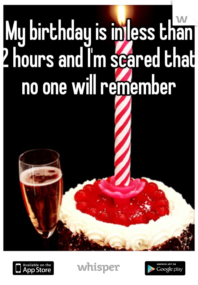 My birthday is in less than 2 hours and I'm scared that no one will remember