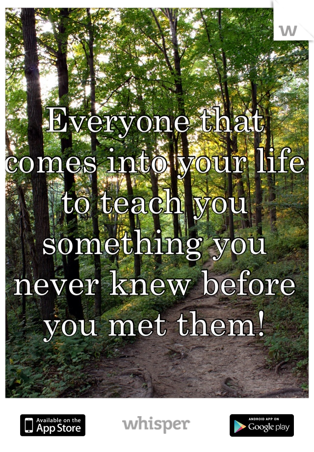 Everyone that comes into your life to teach you something you never knew before you met them!