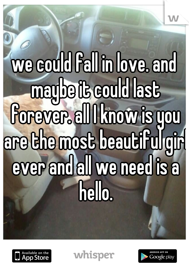 we could fall in love. and maybe it could last forever. all I know is you are the most beautiful girl ever and all we need is a hello.