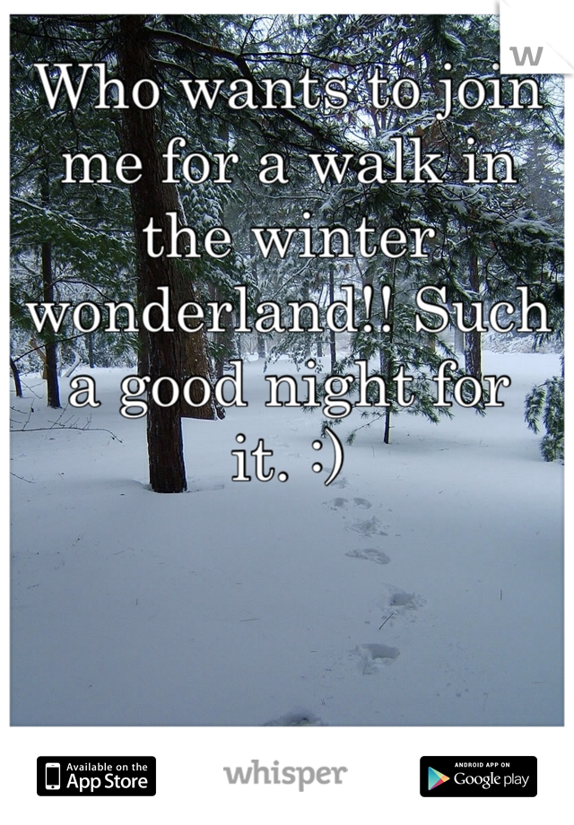 Who wants to join me for a walk in the winter wonderland!! Such a good night for it. :)