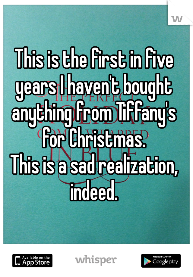 This is the first in five years I haven't bought anything from Tiffany's for Christmas.  This is a sad realization, indeed.