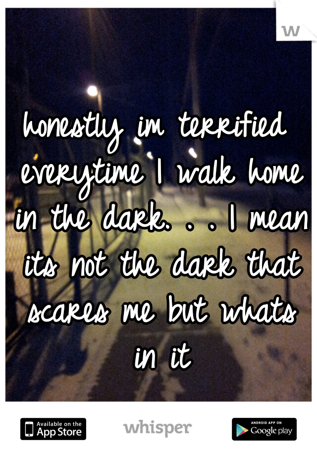honestly im terrified everytime I walk home in the dark. . . I mean its not the dark that scares me but whats in it