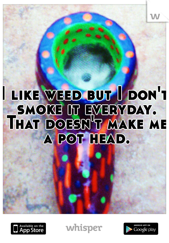 I like weed but I don't smoke it everyday. That doesn't make me a pot head.