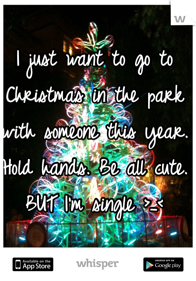 I just want to go to Christmas in the park with someone this year. Hold hands. Be all cute. BUT I'm single >_<