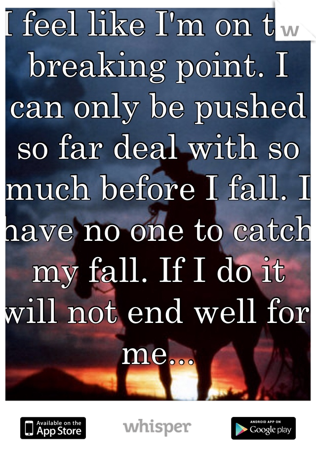 I feel like I'm on the breaking point. I can only be pushed so far deal with so much before I fall. I have no one to catch my fall. If I do it will not end well for me...