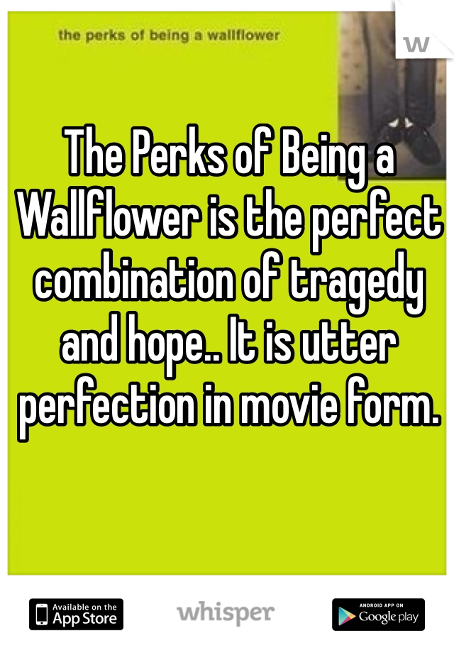 The Perks of Being a Wallflower is the perfect combination of tragedy and hope.. It is utter perfection in movie form.