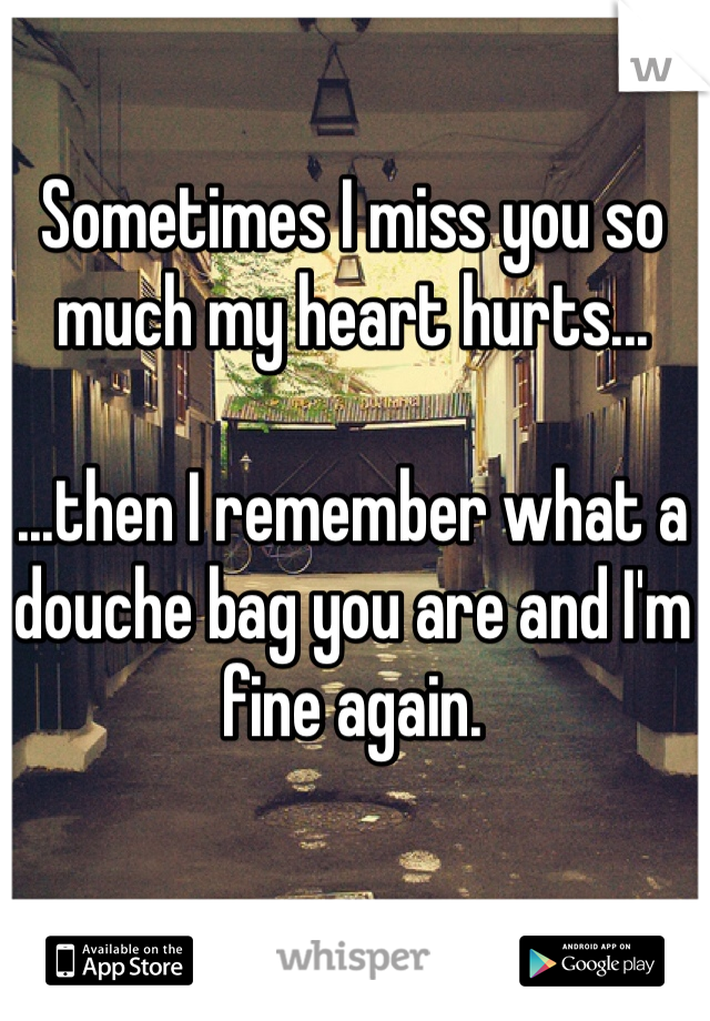 Sometimes I miss you so much my heart hurts...   ...then I remember what a douche bag you are and I'm fine again.