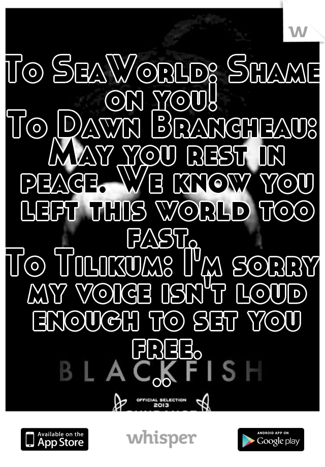 To SeaWorld: Shame on you!  To Dawn Brancheau: May you rest in peace. We know you left this world too fast.  To Tilikum: I'm sorry my voice isn't loud enough to set you free...