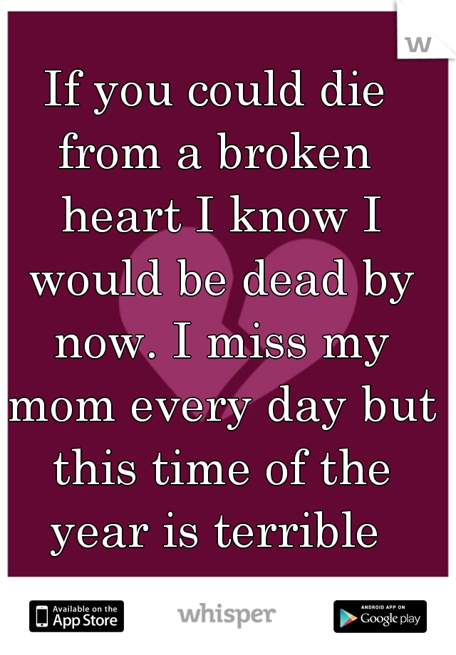 If you could die from a broken  heart I know I would be dead by now. I miss my mom every day but this time of the year is terrible