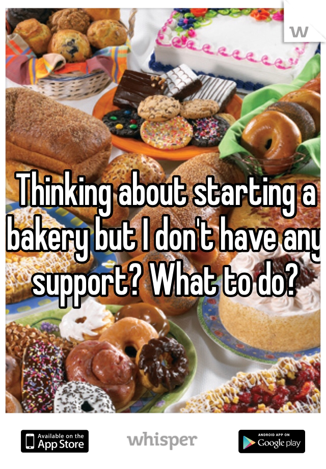 Thinking about starting a bakery but I don't have any support? What to do?