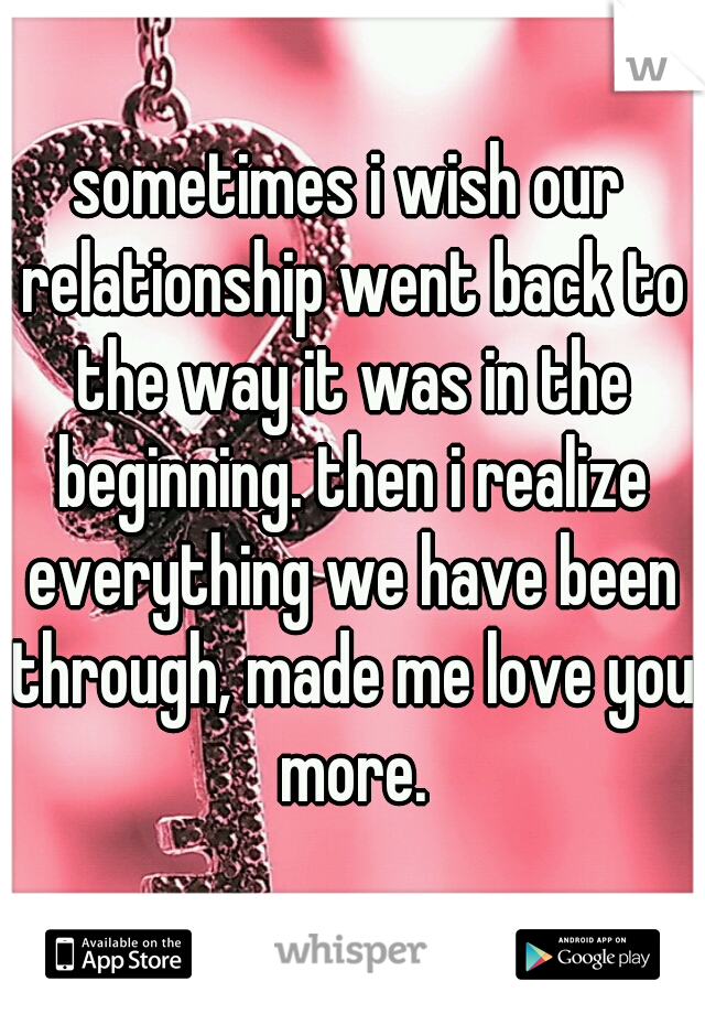 sometimes i wish our relationship went back to the way it was in the beginning. then i realize everything we have been through, made me love you more.