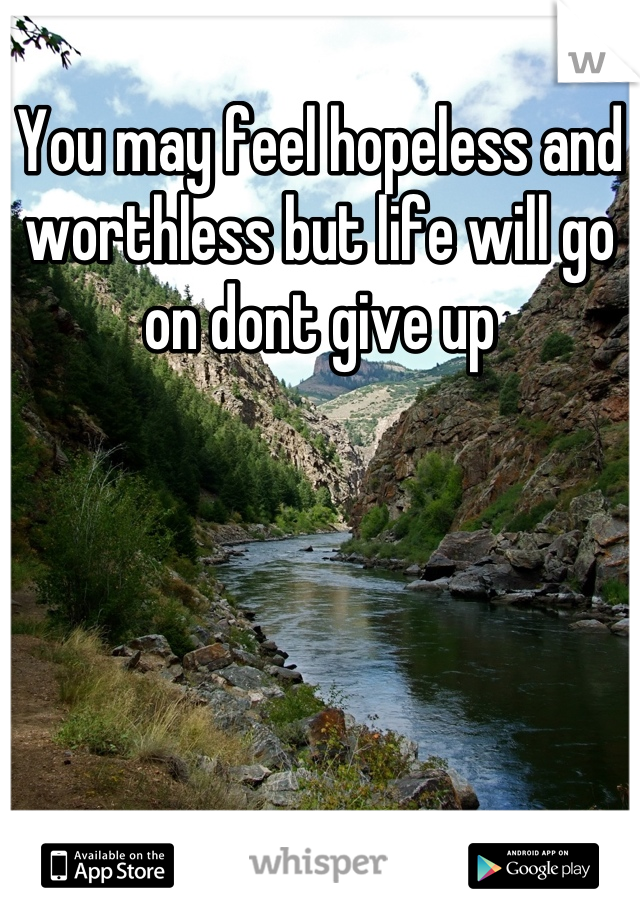You may feel hopeless and worthless but life will go on dont give up