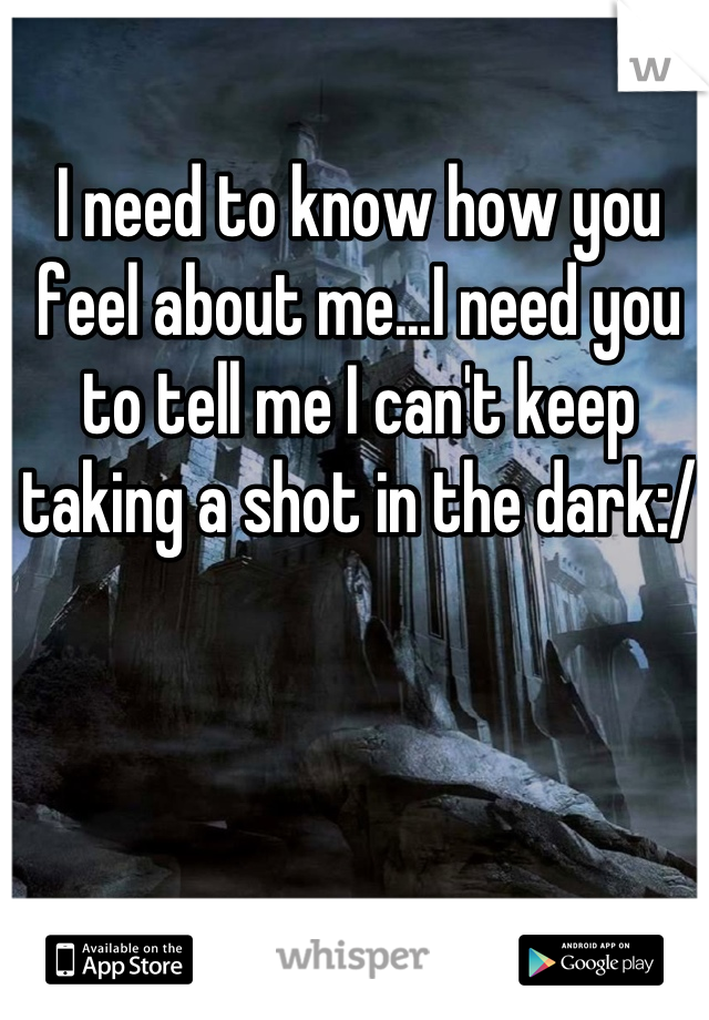 I need to know how you feel about me...I need you to tell me I can't keep taking a shot in the dark:/