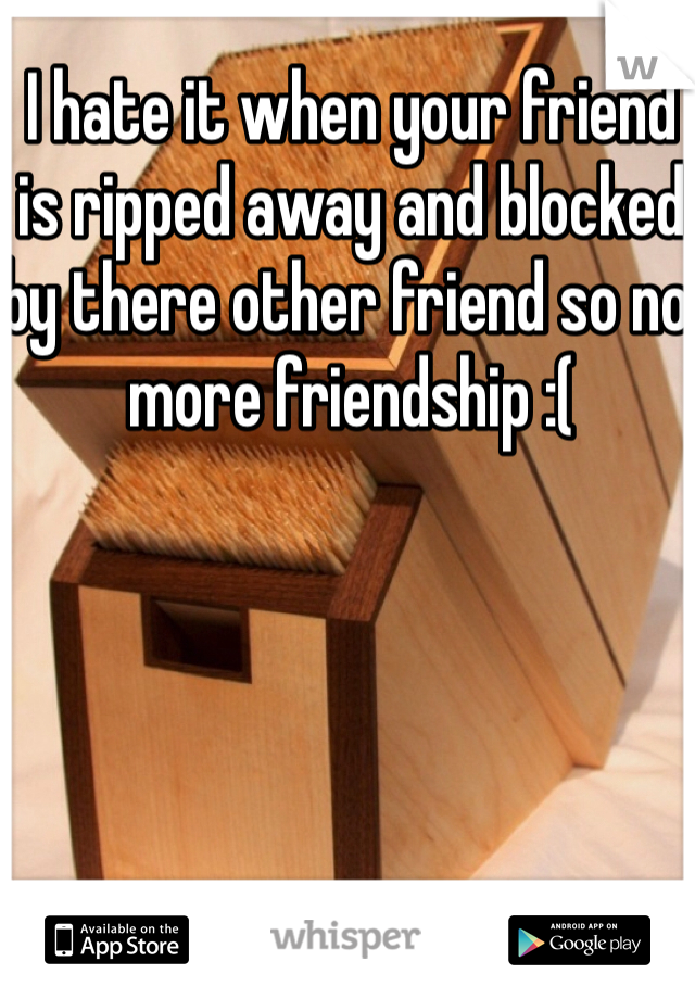 I hate it when your friend is ripped away and blocked by there other friend so no more friendship :(