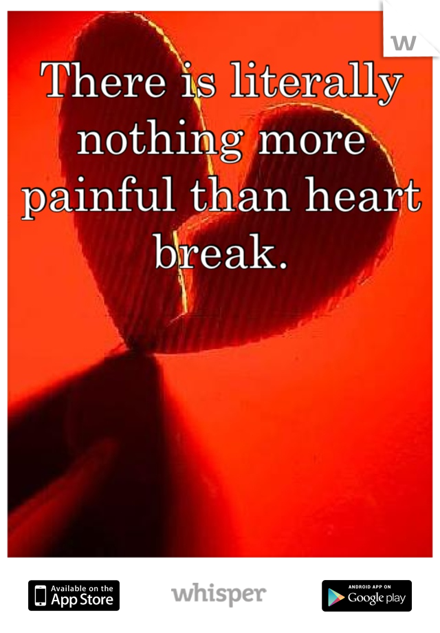 There is literally nothing more painful than heart break.
