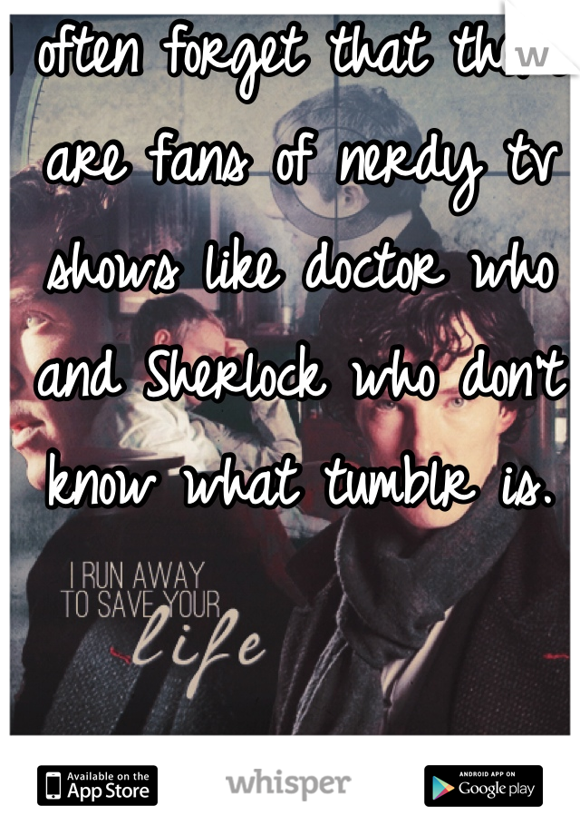 I often forget that there are fans of nerdy tv shows like doctor who and Sherlock who don't know what tumblr is.