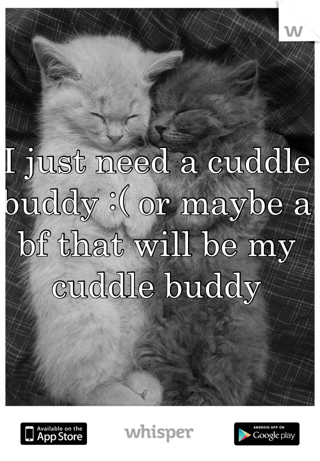 I just need a cuddle buddy :( or maybe a bf that will be my cuddle buddy