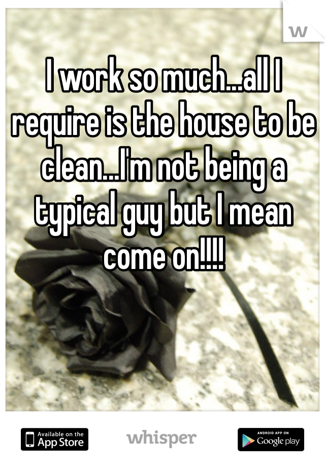 I work so much...all I require is the house to be clean...I'm not being a typical guy but I mean come on!!!!