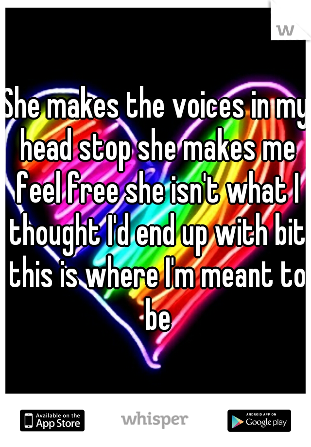 She makes the voices in my head stop she makes me feel free she isn't what I thought I'd end up with bit this is where I'm meant to be